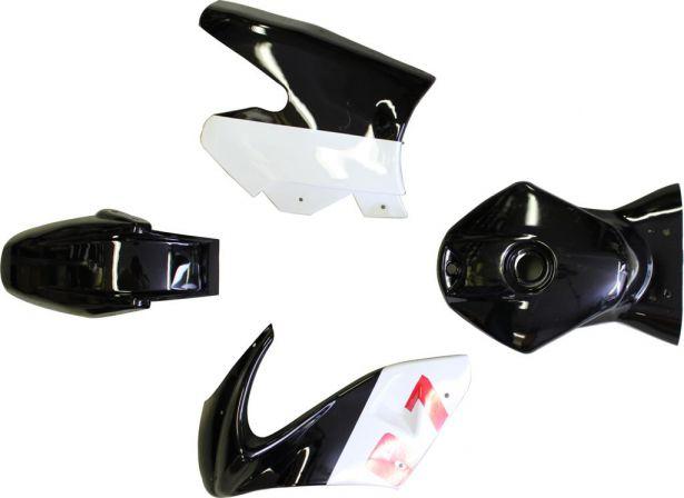 Plastic Set - Pocket Bike, Mini Bike, Black and White (7pcs)