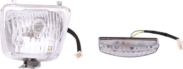 Light Set - 50cc to 150cc, ATV, Front Filament & Rear LED (2pcs)
