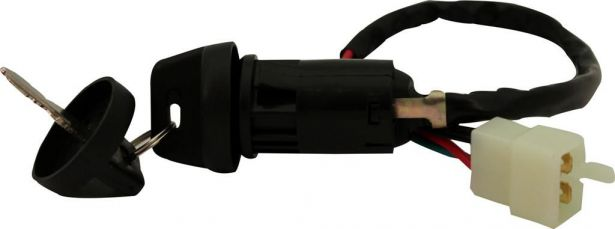 Ignition Key Switch - 4 pin Male, Plastic