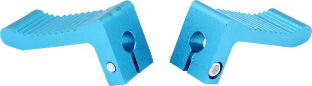 Foot Pegs - Blue, Dirt Bike, CNC, (2 pc set)