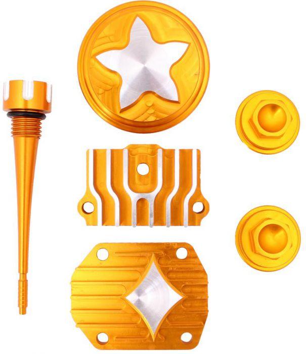 Cylinder Head Cover Set - 125cc, CNC, Performance, 6pc, Gold