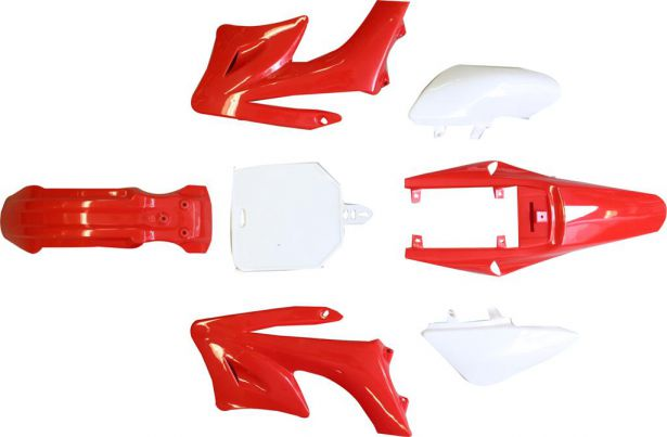 Plastic Set - 50cc to 150cc, Dirt Bike, Red (7pcs)