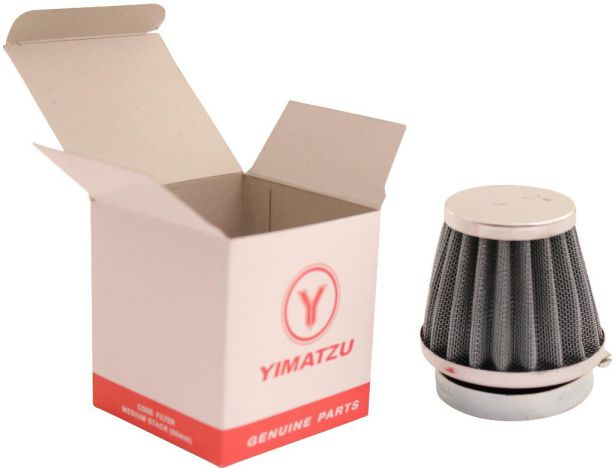 Air Filter - 44mm to 46mm, Conical, Medium Stack (60mm), 2 Stroke, Yimatzu Brand, Chrome