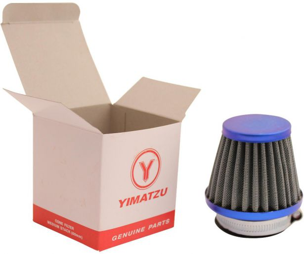 Air Filter - 44mm to 46mm, Conical, Medium Stack (60mm), 2 Stroke, Yimatzu Brand, Blue