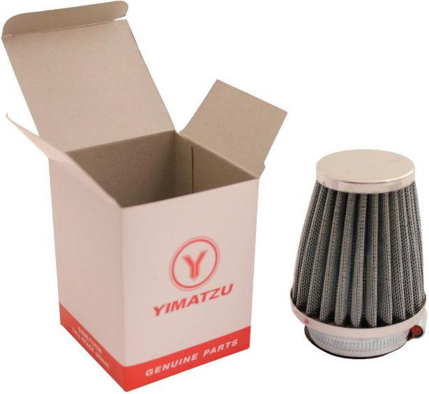 Air Filter - 44mm to 46mm, Conical, Tall Stack (80mm), 2 Stroke, Yimatzu Brand, Chrome