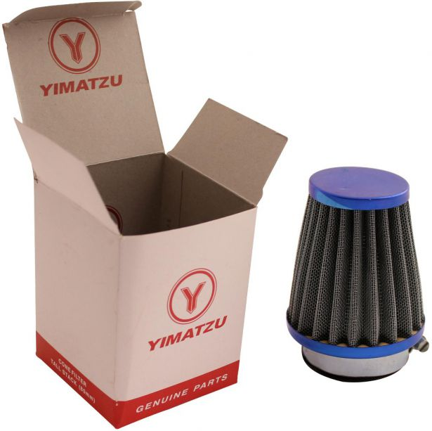 Air Filter - 44mm to 46mm, Conical, Tall Stack (80mm), 2 Stroke, Yimatzu Brand, Blue