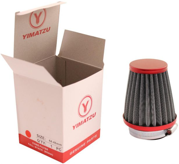 Air Filter - 44mm to 46mm, Conical, Tall Stack (80mm), 2 Stroke, Yimatzu Brand, Red