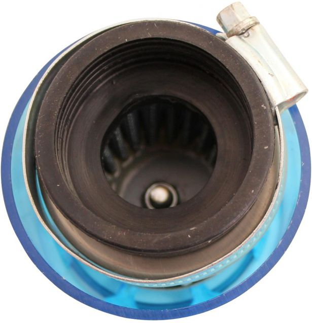 Air Filter - 38mm to 40mm, Conical, Waterproof, Straight, Yimatzu Brand, Blue