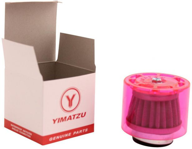 Air Filter - 41mm to 43mm, Conical, Waterproof, Straight, Yimatzu Brand, Red