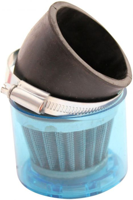 Air Filter - 58mm to 60mm, Conical, Waterproof, Angled, Yimatzu Brand, Blue