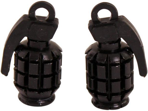 Valve Stem Caps - Black Grenades