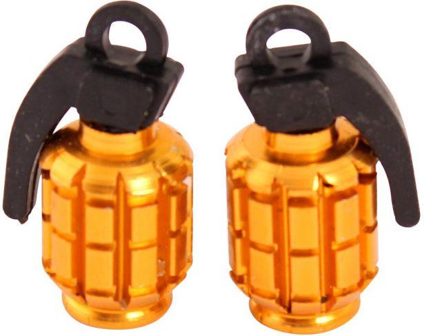 Valve Stem Caps - Gold Grenades