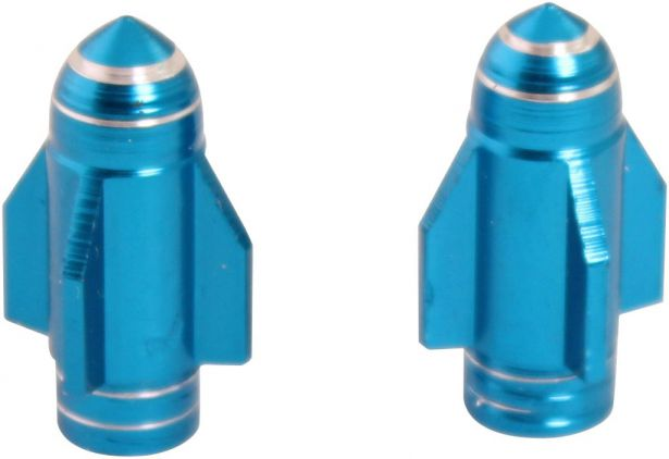 Valve Stem Caps - Blue Rockets