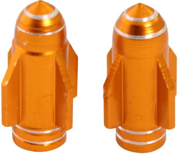Valve Stem Caps - Gold Rockets