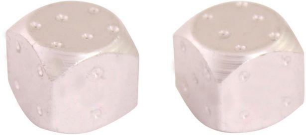 Valve Stem Caps - Silver Dice