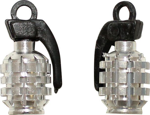 Valve Stem Caps - Chrome Grenades