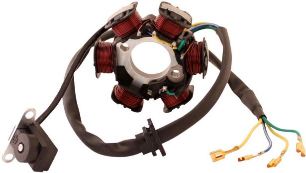 Stator - Magneto Coil, GY6-6, 4 Wire