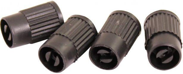 Valve Stem Caps - Standard Black Plastic (Set of 4pcs)