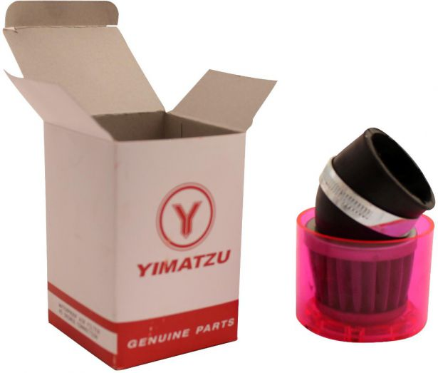 Air Filter - 48mm to 50mm, Conical, Waterproof, Angled, Yimatzu Brand, Red