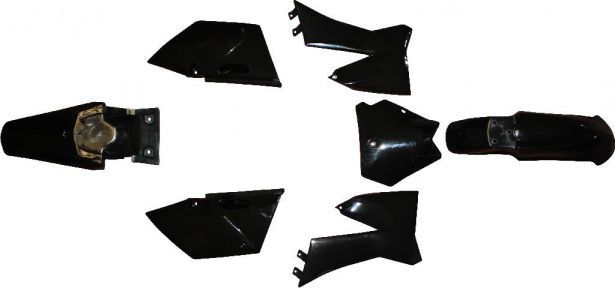 Plastic Set - 110cc, Dirt Bike, Black, KTM110 Profile (7pcs)