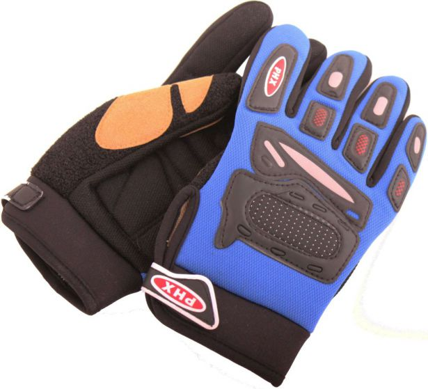 PHX Gloves Motocross, Kids (Blue, Medium)