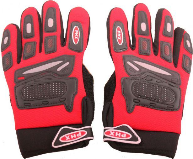 PHX Gloves Motocross, Kids (Red, Medium)