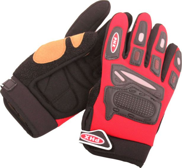 PHX Gloves Motocross, Kids (Red, Medium)