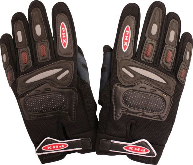 PHX Gloves Motocross, Adult (Black, Medium)