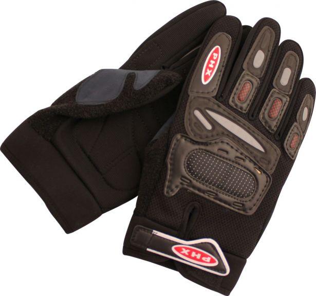 PHX Gloves Motocross, Adult (Black, Medium)
