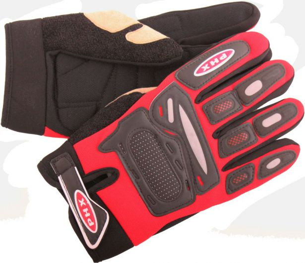 PHX Gloves Motocross, Adult (Red, Medium)