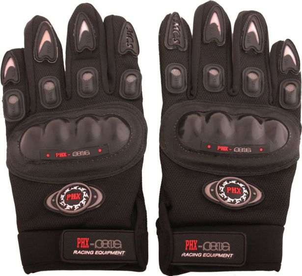PHX Gloves Motocross, Adult MCS Race Edition (Black, Large)