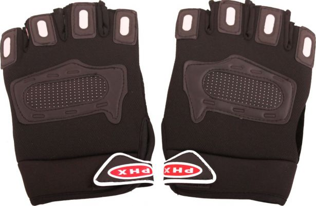 PHX Gloves Motocross 1/2 Length, Adult (Black, Large)