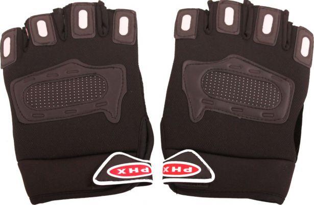 PHX Gloves Motocross 1/2 Length, Adult (Black, X-Large)