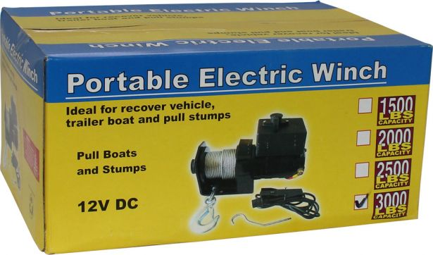 Winch - MNPS 3000 lb 12 Volt (1000W / 1.4HP) Cabled Switch