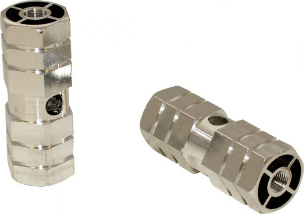 Foot Pegs - Dirt Bike, Silver, CNC Machined Lightweight (2 pcs)