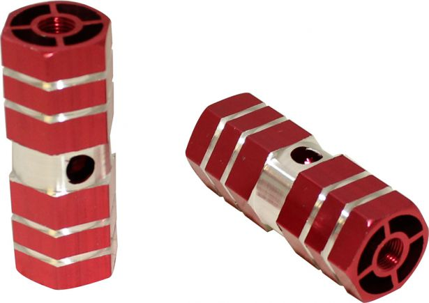 Foot Pegs - Dirt Bike, Red, CNC Machined Lightweight (2 pcs)