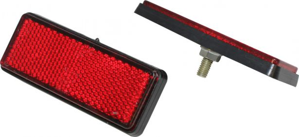 Reflector - Red with Black Base, Rectangular, A-Grade (2pcs)