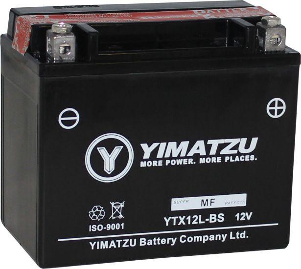 Battery - GTX12L-BS Yimatzu, AGM, Maintenance Free