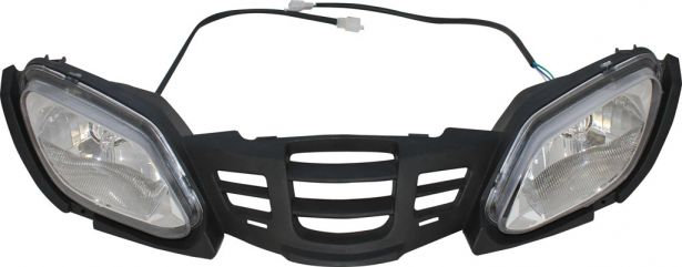 Front Bumper & Headlights - 125cc to 250cc ATV, Utility Style, Two Head Lights