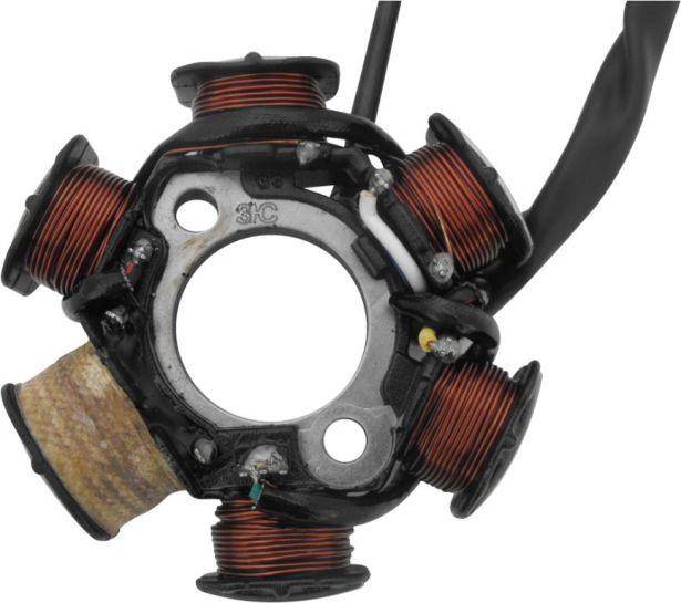 Stator - Magneto Coil, 50cc to 125cc, 5 Wire