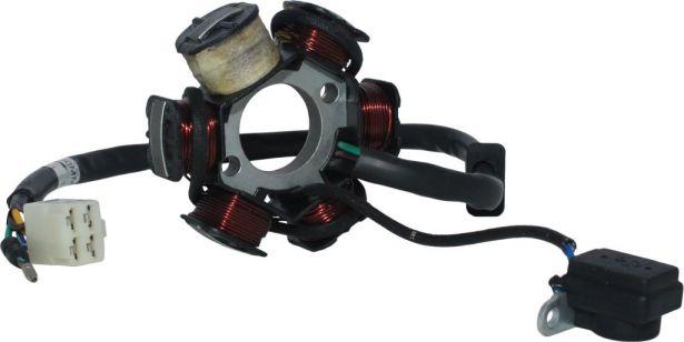 Stator - Magneto Coil, C6, 110cc, Loncin, 5 Wire