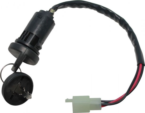 Ignition Key Switch - 4 Pin Male, 4 wire, Plastic