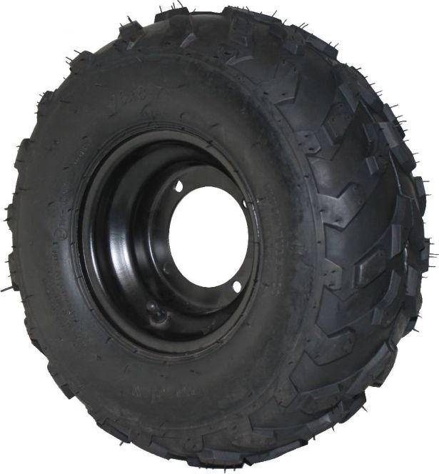 Rim and Tire Set - 16x8-7 Tire, Black Rim, ATV