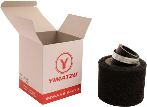 Air Filter - 35mm, Sponge, Angled, Yimatzu Brand, Black
