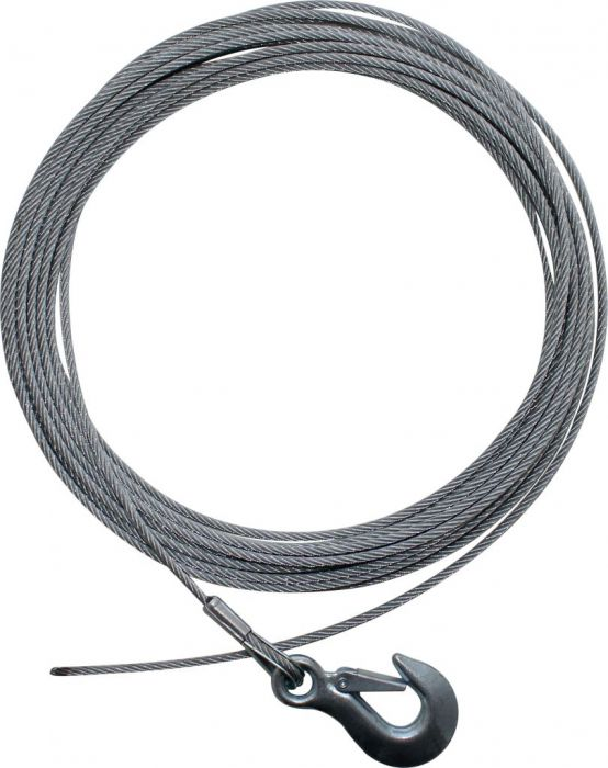 Winch Cable - Steel Braid, Latch Hook, 5mm x 14m
