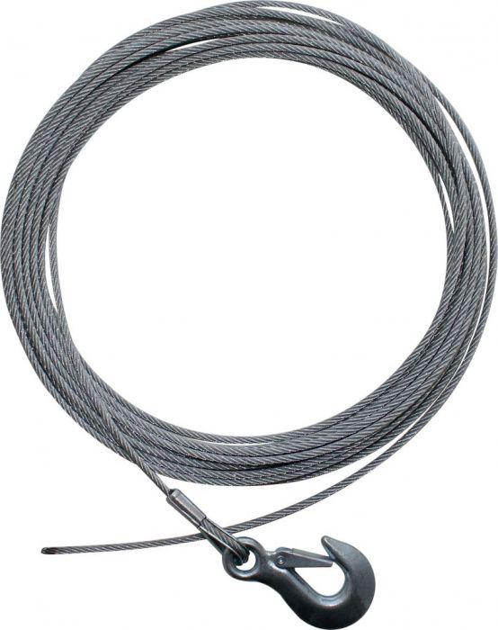 Winch Cable - Steel Braid, Latch Hook, 5mm x 14m