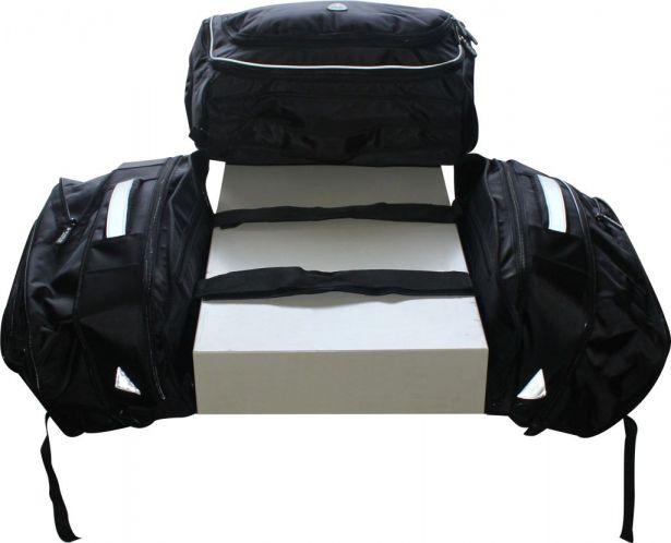 Tank Bag - Rack Bag Combo, Black (3 Piece Set)