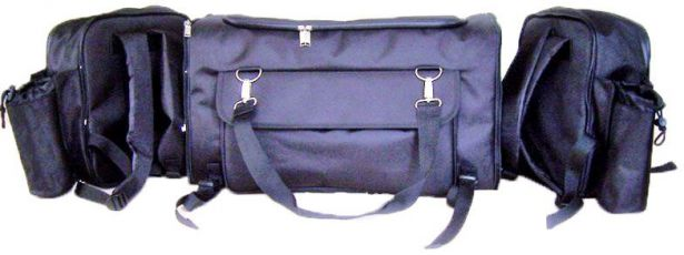 ATV Rack Bag - Large, Black, Built-In Backpacks