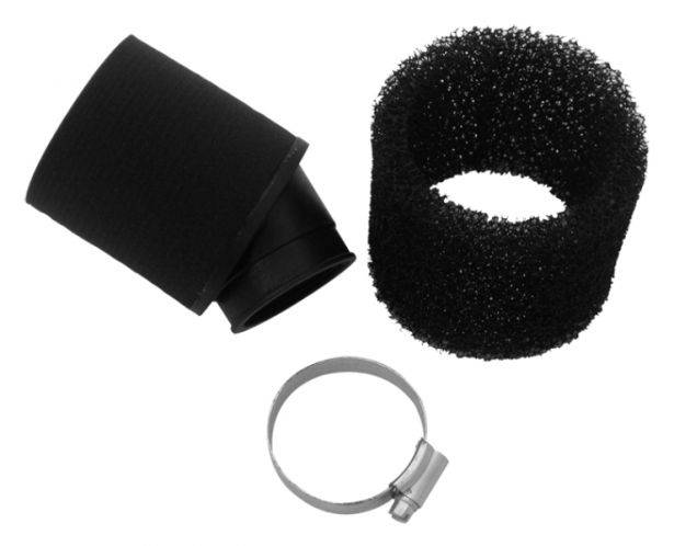 Air Filter - 41mm to 43mm, Sponge, Angled, Yimatzu Brand, Black