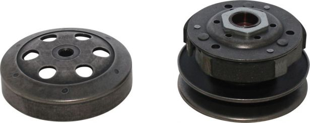 Clutch - Drive Pulley with Clutch Bell, Yamaha, 50cc, 2 Stroke, 16 Spline